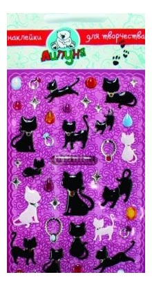 Кошки, Наклейка декоративная для детской комнаты Большие Гелевые Наклейки Кошки, Липуня, Аксессуары для детской комнаты  - купить со скидкой