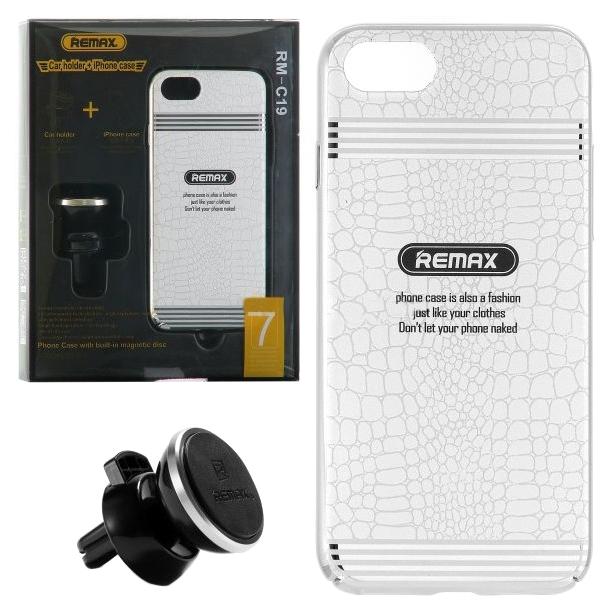 Чехол накладка + автодержатель Apple iPhone 7 Plus Remax RM-C19 White