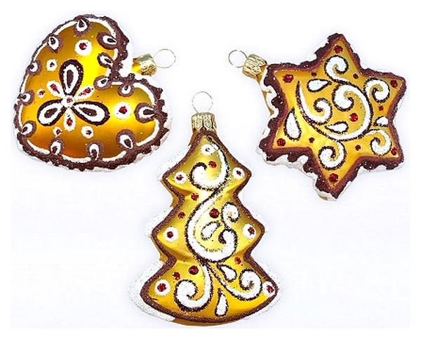 Набор елочных игрушек Елочка Пряничный золотой