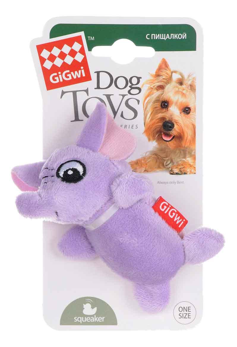 Мягкая игрушка для собак GiGwi Слон с 2-мя пищалками, длина 10 см