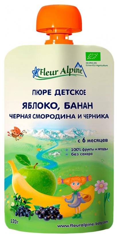 Пюре фруктовое Fleur Alpine Яблоко, банан, черная смородина и черника (6 месяцев) 120 г