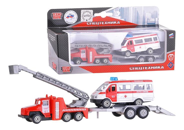Купить 2 шт. пожарная техника, Набор из 2 х моделей Пожарная техника 7, 5 см Технопарк, Наборы игрушечного транспорта