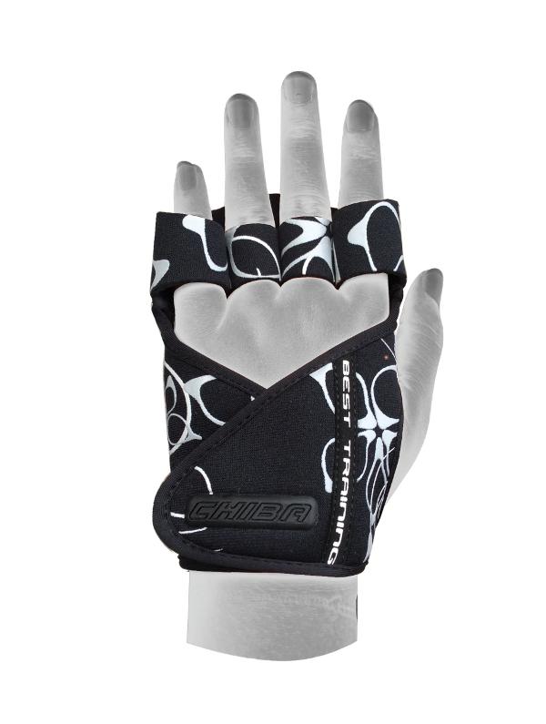 Перчатки для фитнеса и тяжелой атлетики Chiba Lady Motivation черно-белые XS