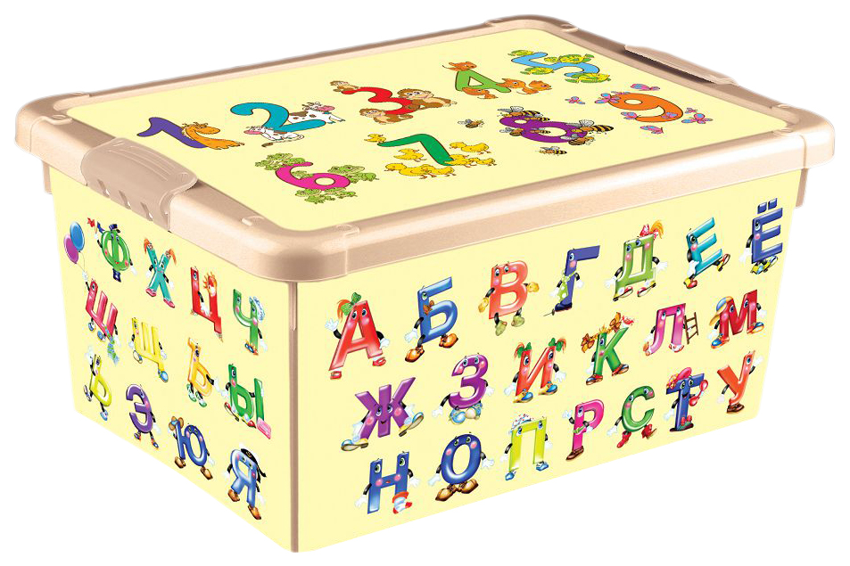 Купить Ящик для игрушек Алфавит и цифры , бежевый Бытпласт, Ящики для хранения игрушек