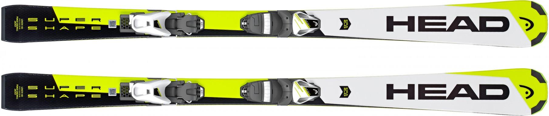 Горные лыжи Head Supershape SLR 2 White/Neon/Yellow + SLR 7.5 AC 2019, 120 см фото