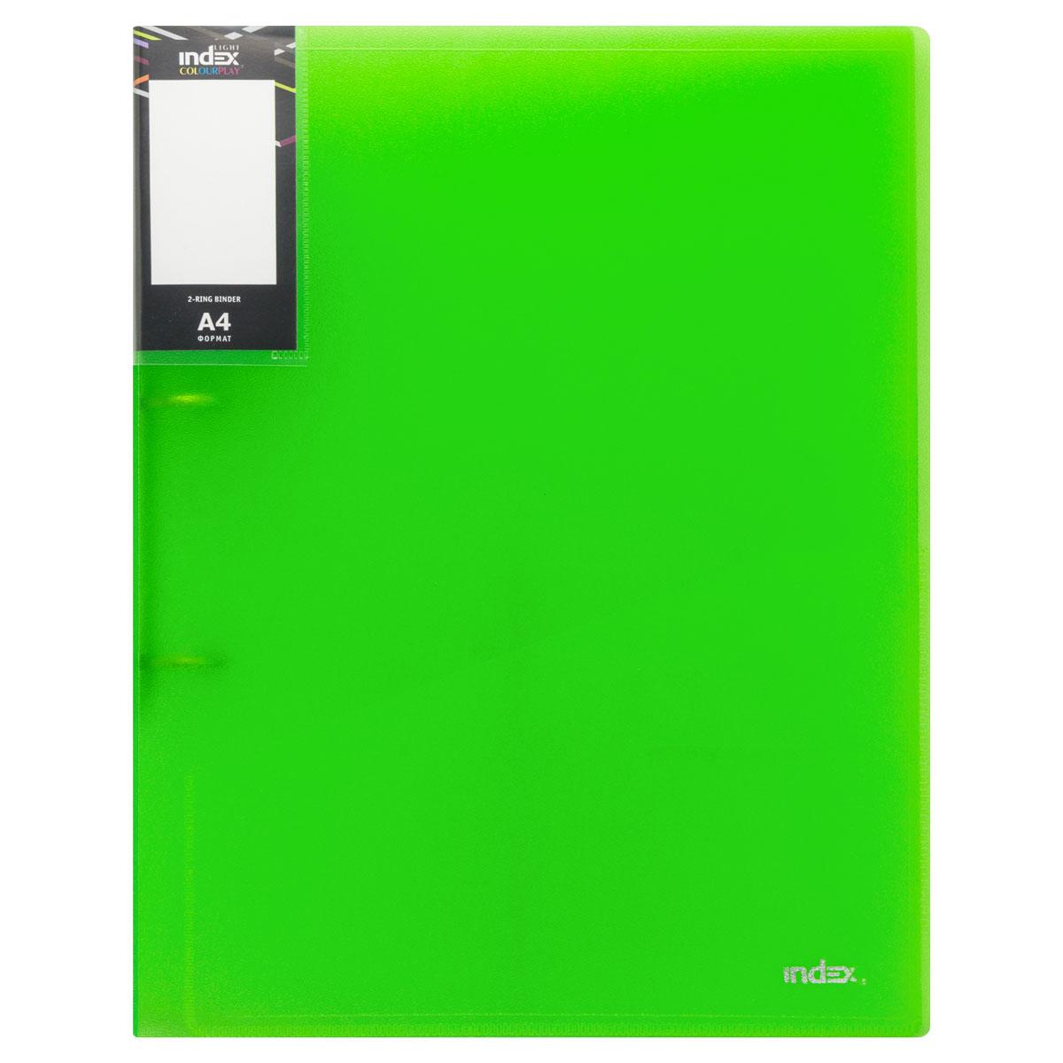 Папка на 2 кольцах Index Colourplay Light, A4, 0.6 мм, Прозрачная/Зеленая