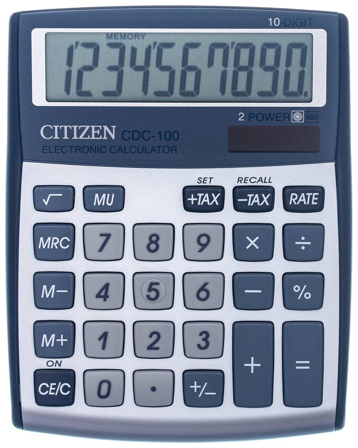 Калькулятор Citizen CDC-100WB, 10 разрядов, двойное питание, 135x108 мм