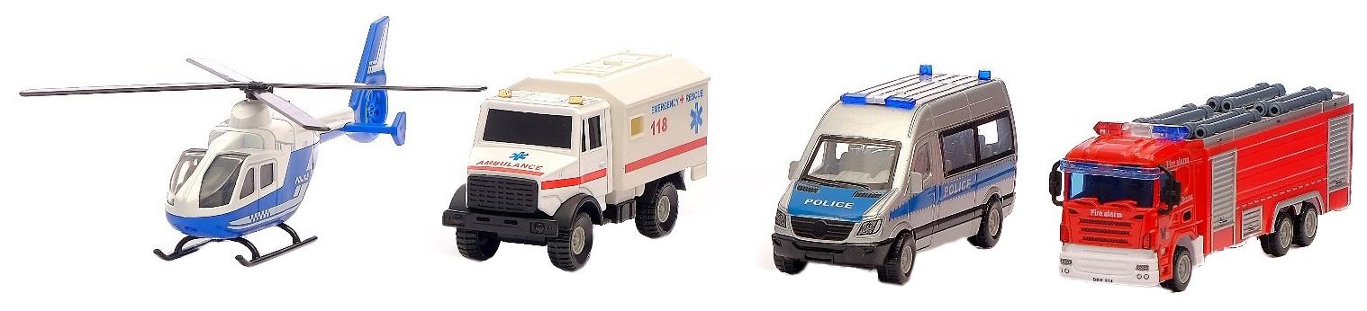 Купить Набор игровой Службы спасения, 3 металлические машины и вертолет Sima-Land, Игровые наборы