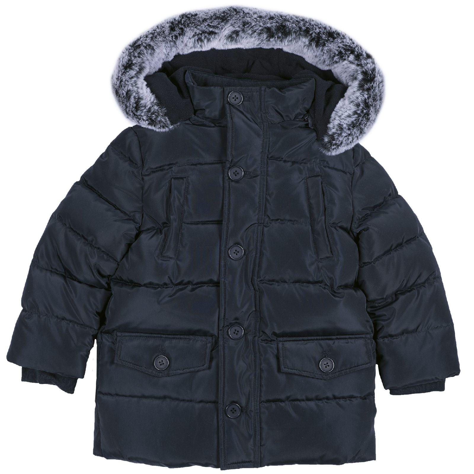 Купить 09087489, Куртка-пуховик Chicco для мальчиков, капюшон с мехом, р.128, цв. тёмно-синий,
