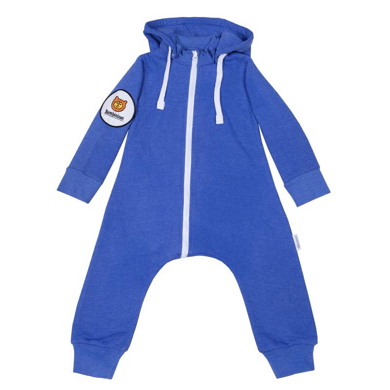 Купить Комбинезон Bambinizon из футера Синий Меланж ТКМ-2-СИНМ р.62, Слипы и комбинезоны для новорожденных