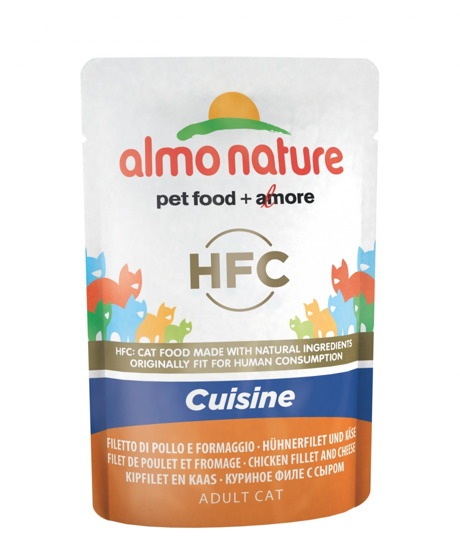Влажный корм для кошек Almo Nature HFC Cuisine, курица, сыр, 55г