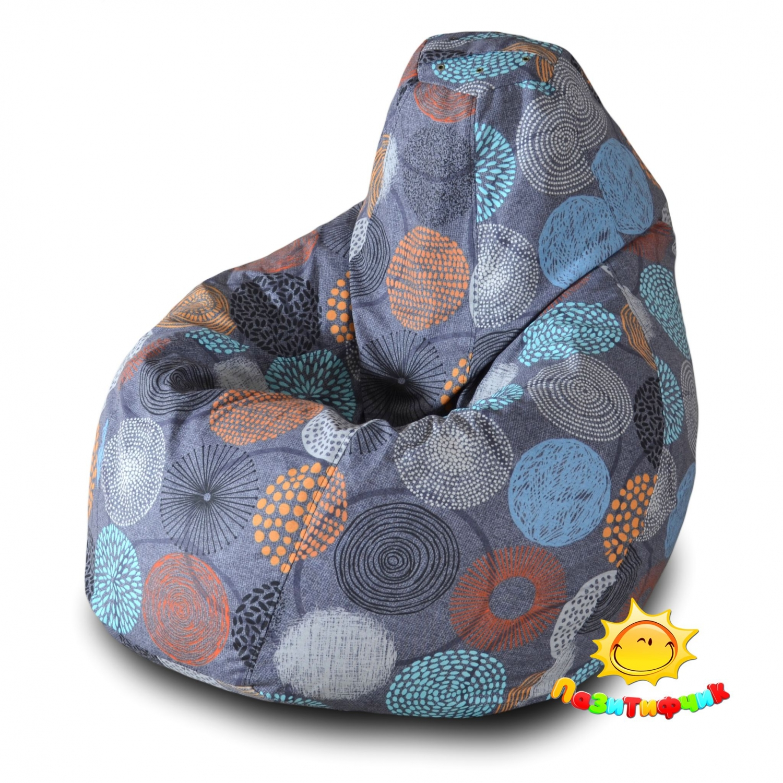 Кресло-мешок Pazitif Груша Пазитифчик Рингс 04, размер XL, жаккард, разноцветный фото