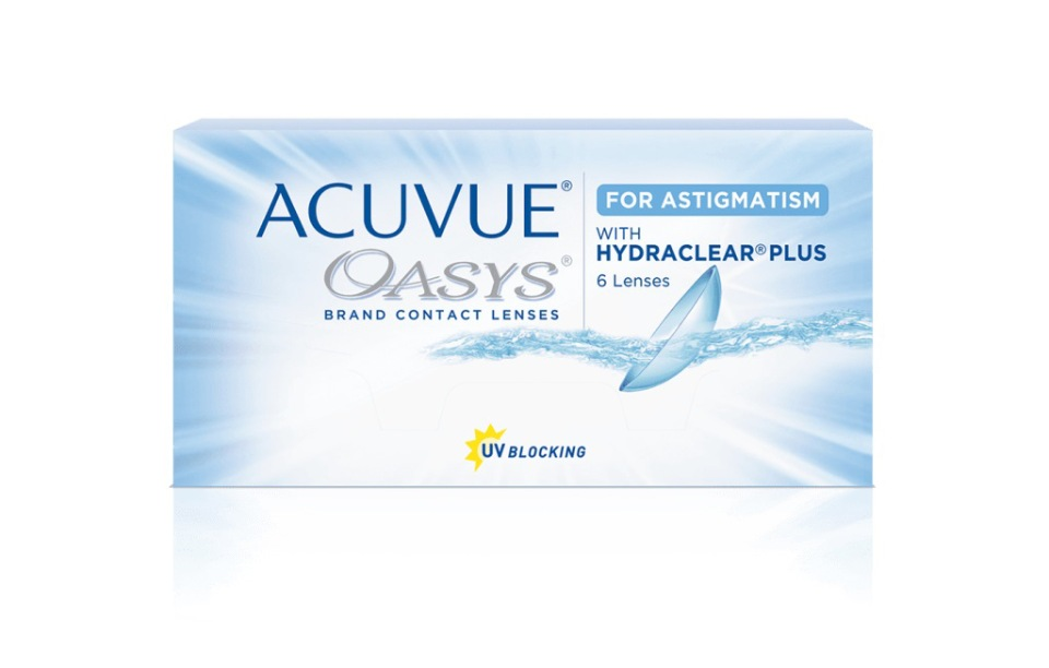 Купить Acuvue Oasys for Astigmatism with Hydraclear Plus 6 линз, Контактные линзы Acuvue Oasys for Astigmatism with Hydraclear Plus 6 R 8, 6 -3, 25/-0, 75/70