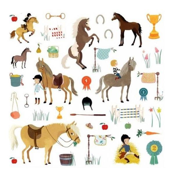 Купить Наклейка декоративная для детской комнаты Djeco Лошади, Аксессуары для детской комнаты
