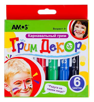 Купить Набор мелков AMOS Face Deco 6 цветов 22810, Наборы мелков