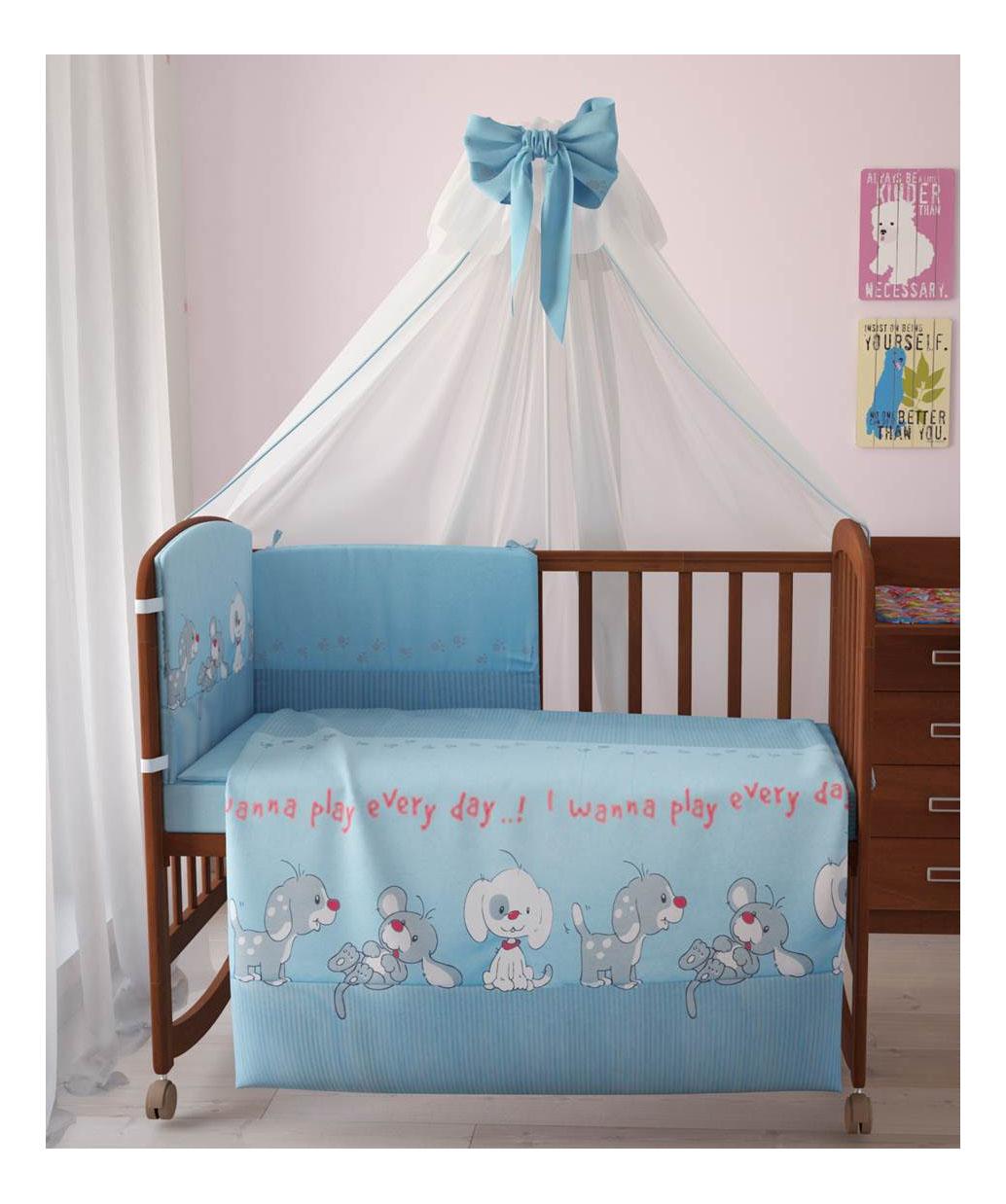 Комплект детского постельного белья Тополь Фея Веселая игра голубой Веселая игра 7предметов, голубой