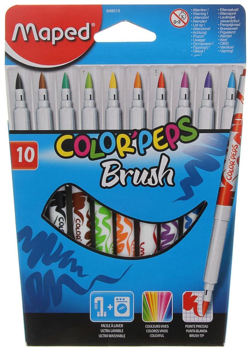 Купить Color Peps Brush 24260, Набор фломастеров-кистей Maped Color Peps Brush 2, 8мм 10 цветов, Фломастеры