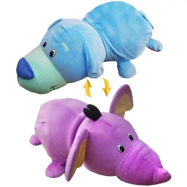 Купить Мягкая игрушка 1 TOY Вывернушка 40 см 2 в 1, Голубой щенок-Фиолетовый слон (Т12334), Мягкие игрушки животные