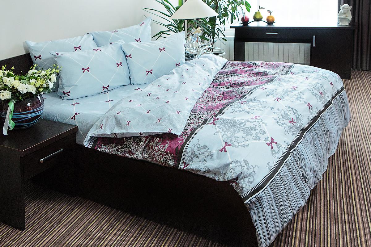 Комплект постельного белья Ночь нежна Desanzh Цвет: Бордовый (2 сп. евро)