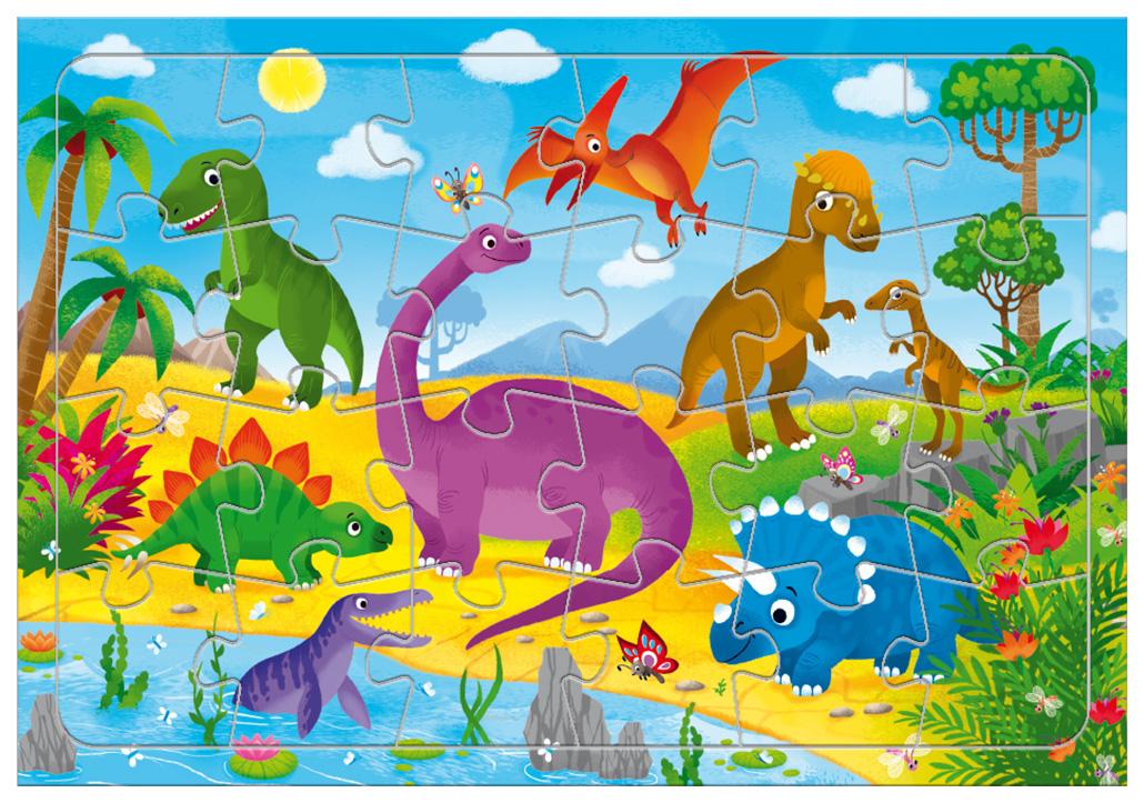 ГЕОДОМ Пазл листовой на подложке. Динозавры. 24 детали. 21х29,5 см.