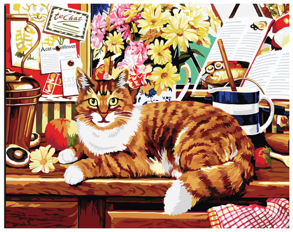Купить РЫЖИЙ КОТ Алмазная мозаика Полосатый кот, 40x50 см AC4002, Рыжий кот, Мозаики