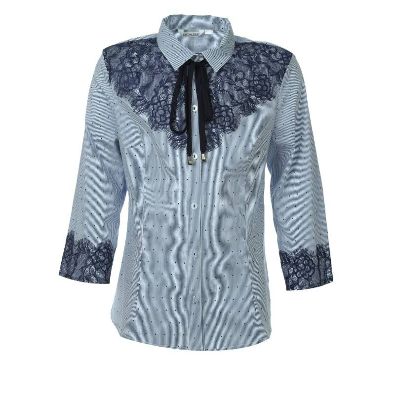 Купить 621, Блузка UNONA D'ART, цв. синий, 152 р-р, Детские блузки, рубашки, туники