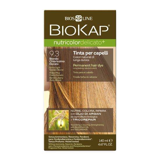 Краска для волос BIOKAP «Очень светлый золотой» тон 9.3, 140 мл