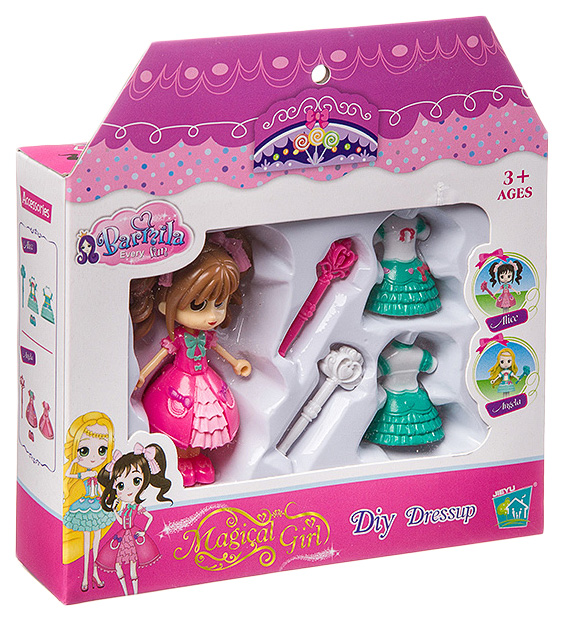 Игровой набор куколка с аксессуарами, ВОХ 16х3,7х13,2 см, арт.30111AB.