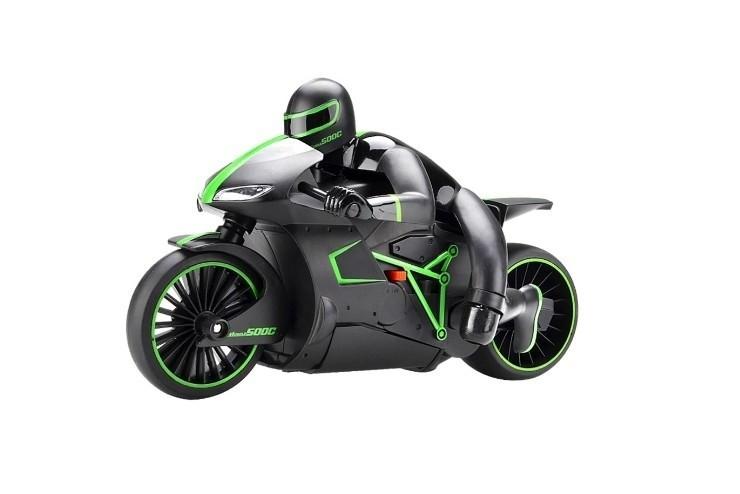 Радиоуправляемый мотоцикл Zhencheng 4CH черно зеленый 1:12
