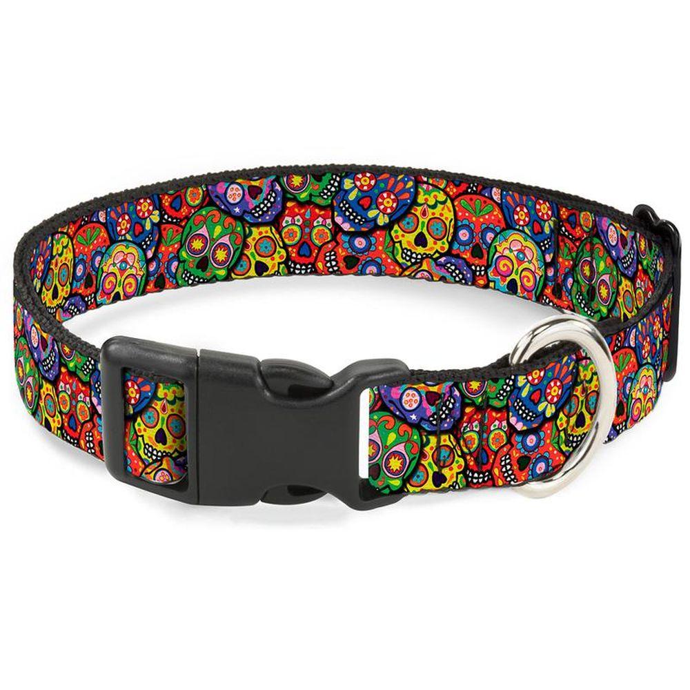 Ошейник для собак Buckle-Down Цветные черепа, с пластиковой застежкой, S, 23-38 см фото