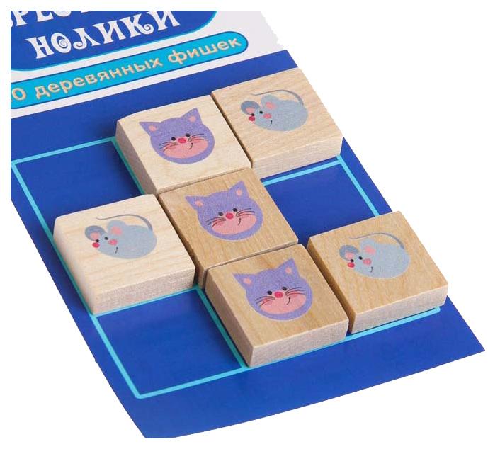 Игра настольная Десятое Королевство Крестики-нолики, Кошки-Мышки, деревянные фишки,  - купить со скидкой