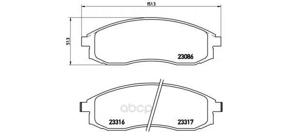 Тормозные колодки дисковые brembo P54037