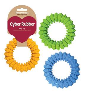 Жевательная игрушка для собак Rosewood Сyber Rubber Кольцо, в ассортименте, 12 см