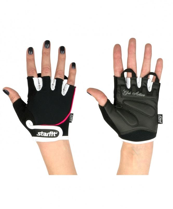 Перчатки для фитнеса StarFit SU 111, черные/белые/розовые,