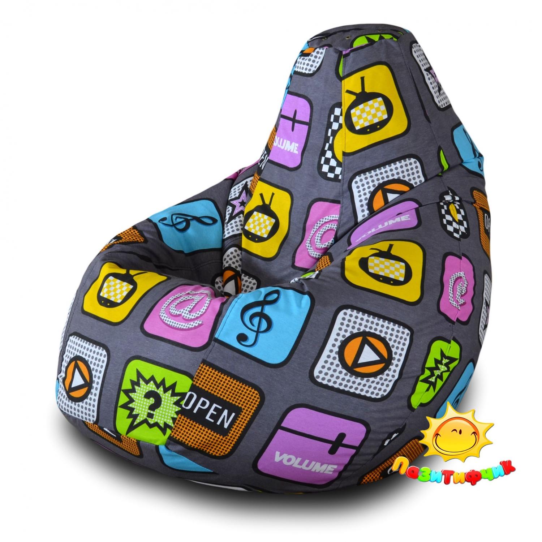 Кресло-мешок Pazitif Груша Пазитифчик Плей 05, размер XXL, жаккард, разноцветный