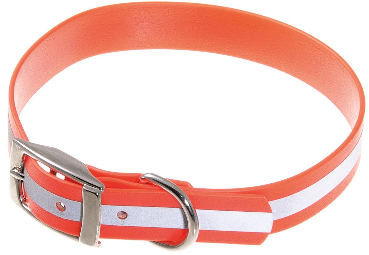 Ошейник V.I.PET для собак биотановый светоотражающий , оранжевый, 35 – 43 см/20 мм