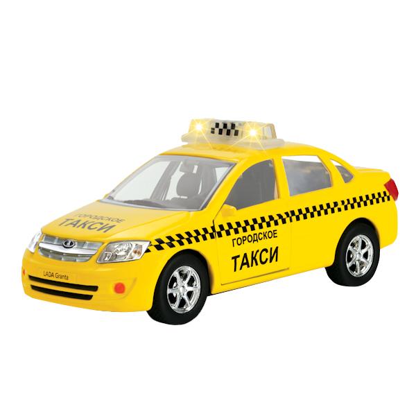 Купить Машина Технопарк инерционная, металлическая Лада гранта такси, 1:43, со светом и звуком,