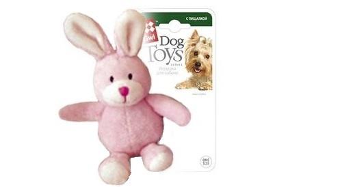 Мягкая игрушка для собак GiGwi Заяц с пищалкой, розовый, длина 14 см