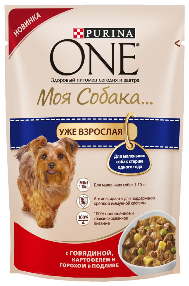 Влажный корм для собак Purina One Моя Собака... Уже взрослая, говядина, картофель, 100г
