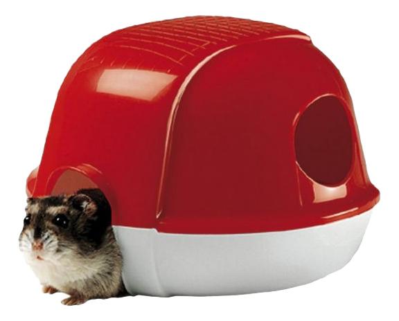 Домик для грызуна Ferplast пластик, 11х13х16см, цвет красный