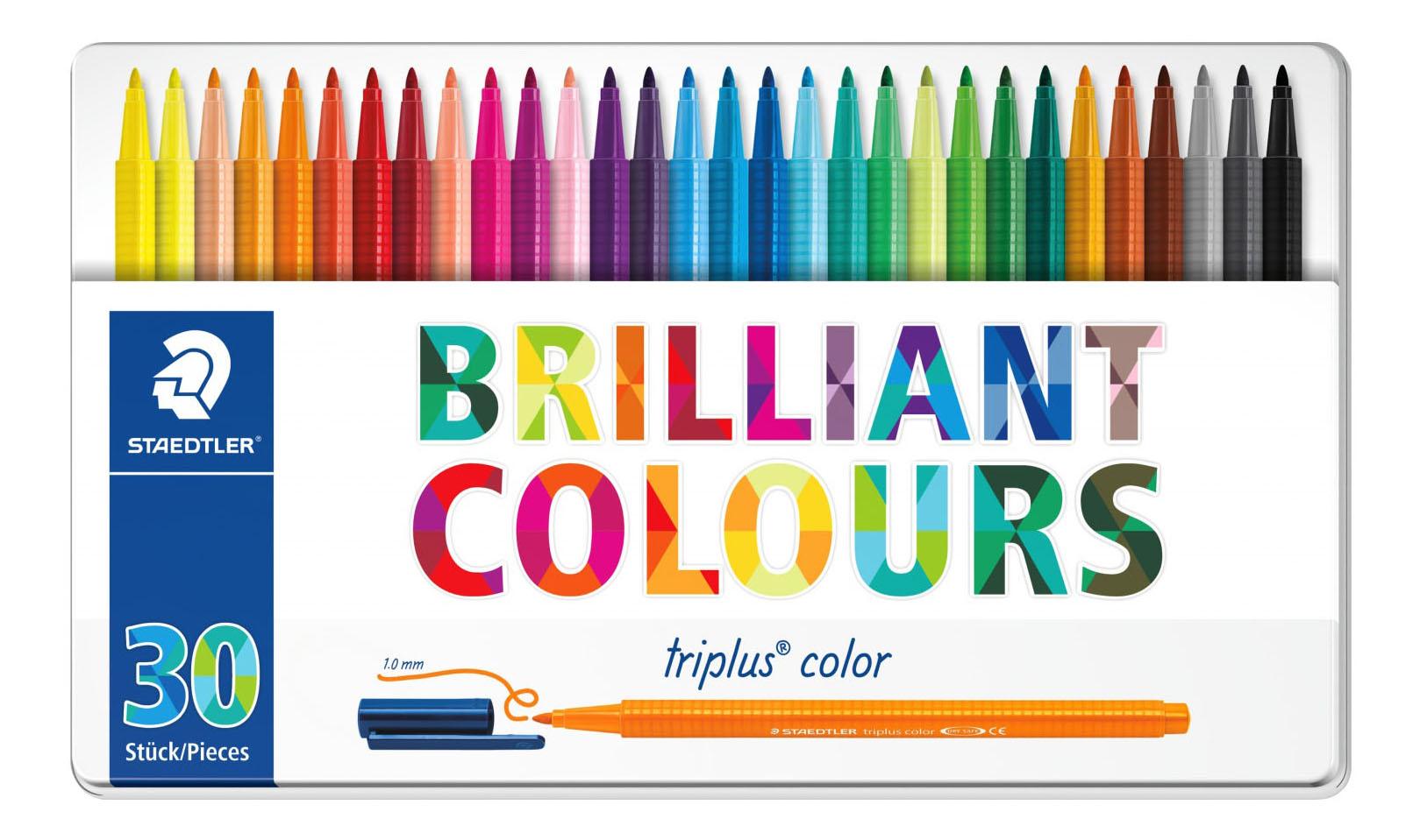 Купить Набор фломастеров Staedtler трехгранные Яркие цвета 30 цветов, Фломастеры