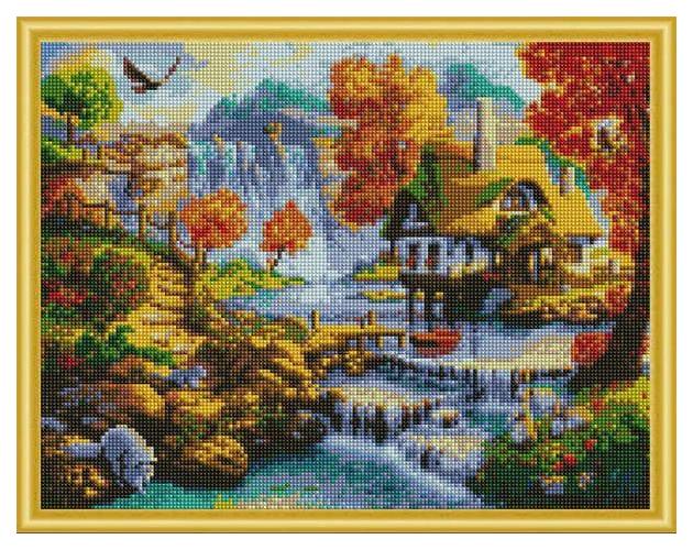 Купить РЫЖИЙ КОТ Алмазная мозаика Дом у водопада, 40x50 см AC4005, Рыжий кот, Мозаики