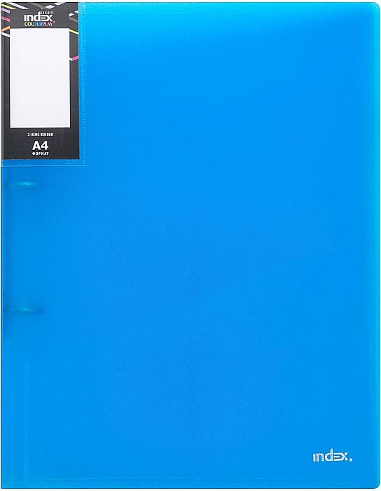 Папка на 2 кольцах Index Colourplay Light, A4, 0.6 мм, Прозрачная/Синяя