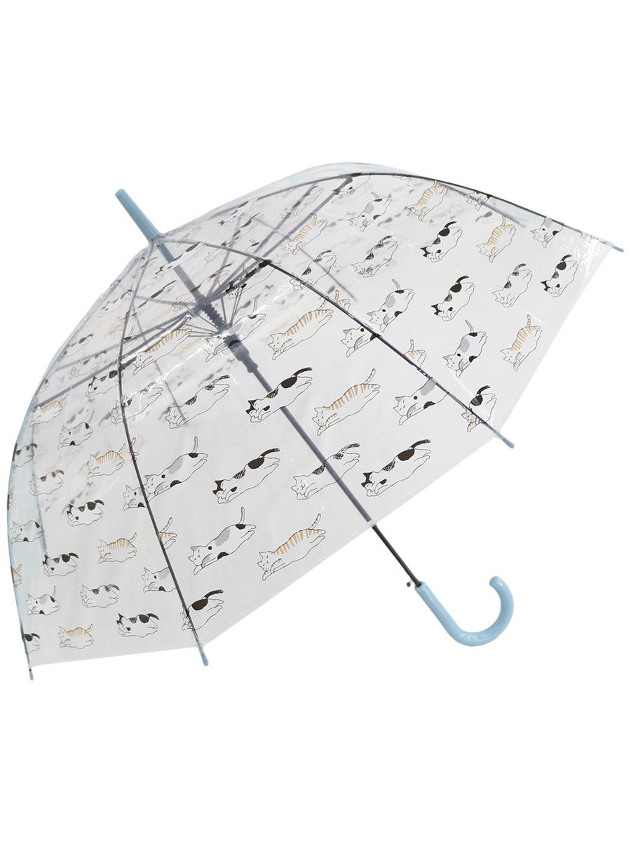 Зонт трость МихиМихи Кошки прозрачный купол, голубой