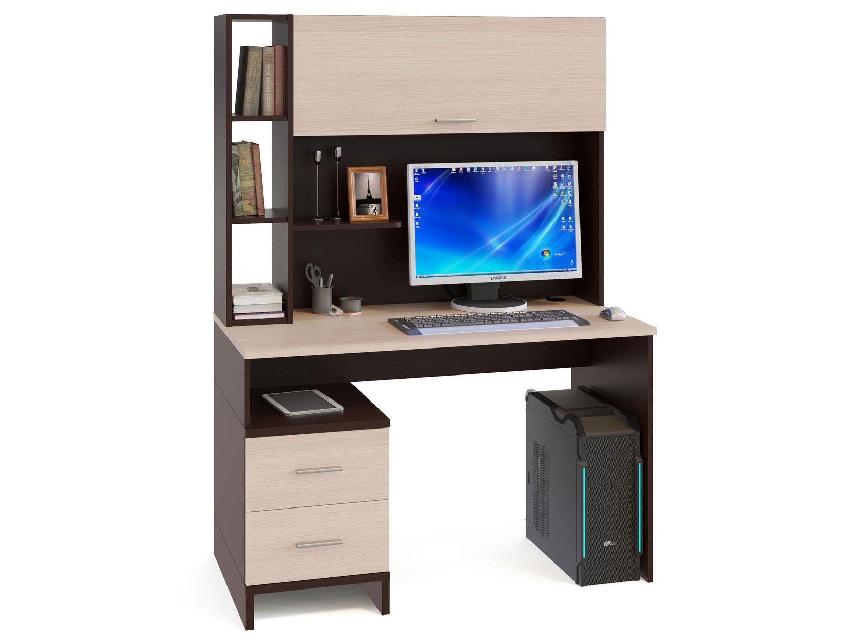 Компьютерный стол в комплекте СОКОЛ КСТ-114 120x60x166, венге/беленый дуб