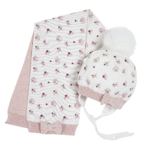 Купить Комплект шапка и шарф Chicco Цветочки для девочек р.03 цв.розовый, Комплекты головных уборов для девочек