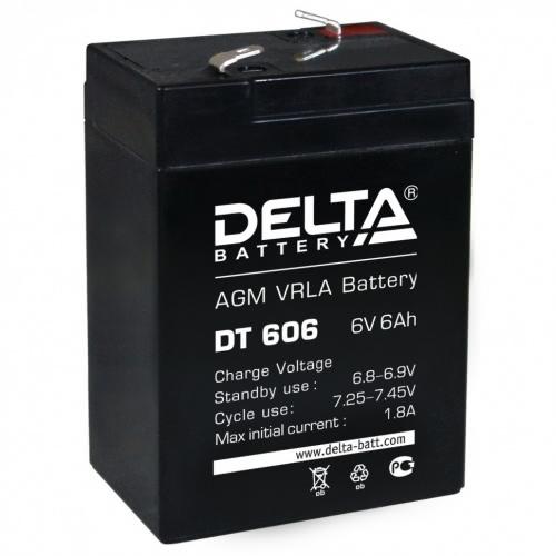 Аккумулятор Delta DT 606 6В 6Ач 70x47x107 мм Прямая (+-) фото