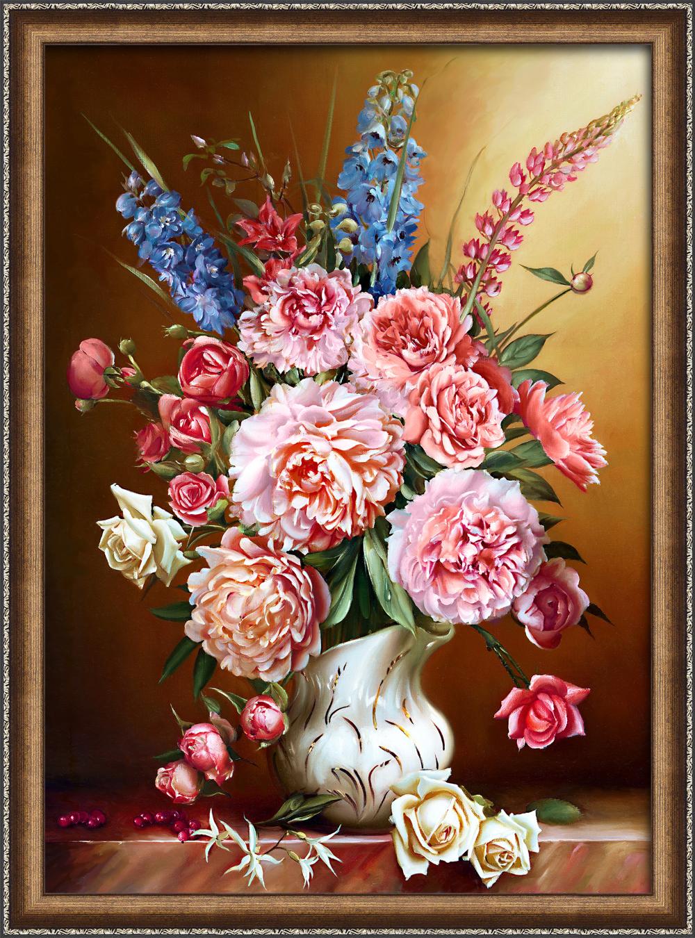 Картина стразами Алмазная Живопись «Пионы с люпинами» 50х70 см