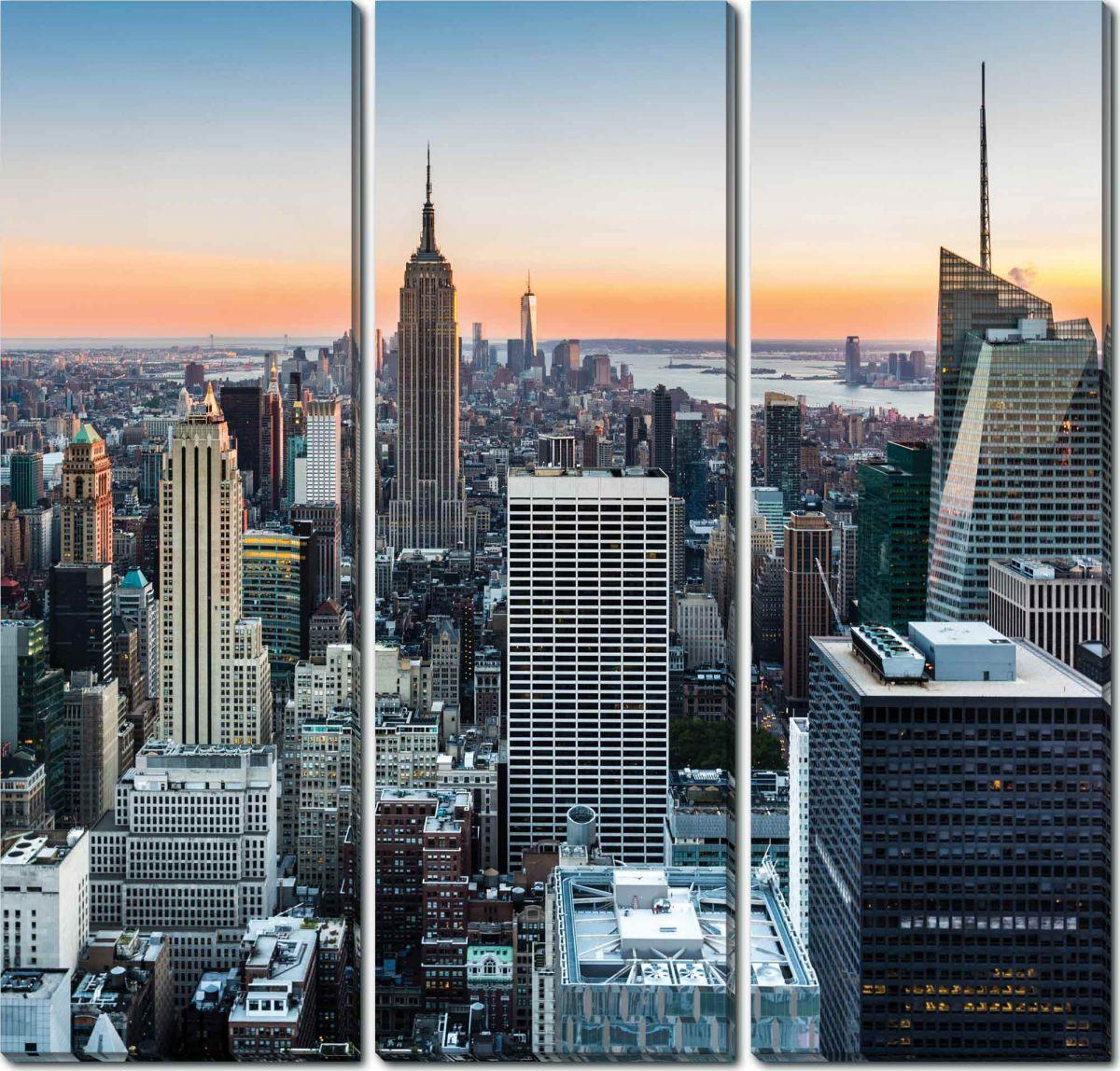 Модульная картина на холсте 90x90 Нью йорк вечер Ekoramka HE-107-183 фото