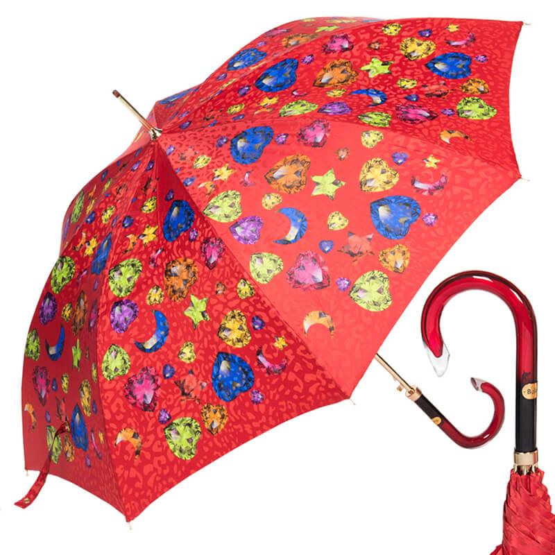 Зонт-трость женский Baldinini 17-LA Diamante long Rosso